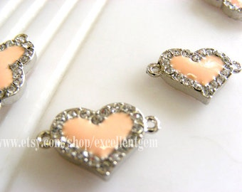 Rhinestone connector, rhinetone pendant, silver plated connector, Heart connector, both-sides bracelet Connector, skin pink connector-18mm