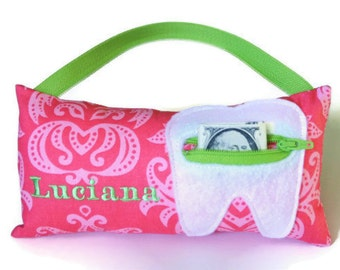 Girl's Pink Damask Personalized Tooth Fairy Pillows