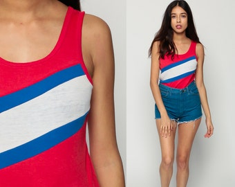 STRIPED Tank Top 80s Shirt Paper Thin Burnout Red White Blue Sleeveless Retro 1980s Hipster Vintage Small