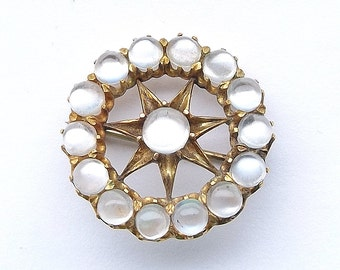 9ct Gold Edwardian Moonstone Brooch, Round Star Pin