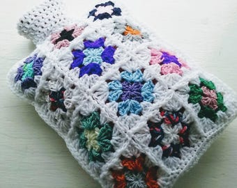 Hot Water Bottle Cover Cozy edged in the colour White