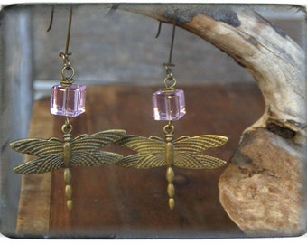 DRAGONFLY WHISPERER. Rose quartz cubes and Antiqued Flourish Dragonfly Earrings. Gift for her