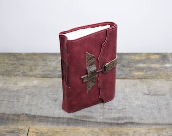 Leather Journal with antique key red leather