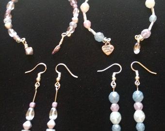 Czech Glass memory wire bracelet and earrings set