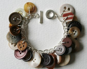 Button Charm Bracelet Brown Beige Pearly Creams