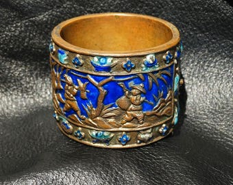 Antique Enamel Bangle, Chinese Export Art Deco 1920s