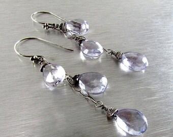 15% Off Blue Quartz Sterling Silver Wire Wrapped Dangle Earrings