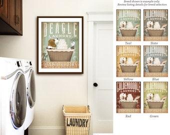 Beagle dog laundry basket company laundry room artwork UNFRAMED signed artists print by stephen fowler geministudio