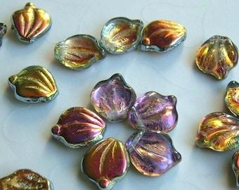 20 pieces of Czech Glass Petal\/Leaf Beads in Marea Color -- 12x15mm