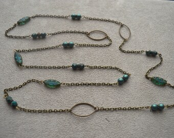 "Set of necklace + earrings ""Nouméa"" Czech glass beads"