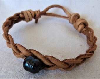 men or women leather bracelet, Tahitian Pearl, leather braided 3 strands