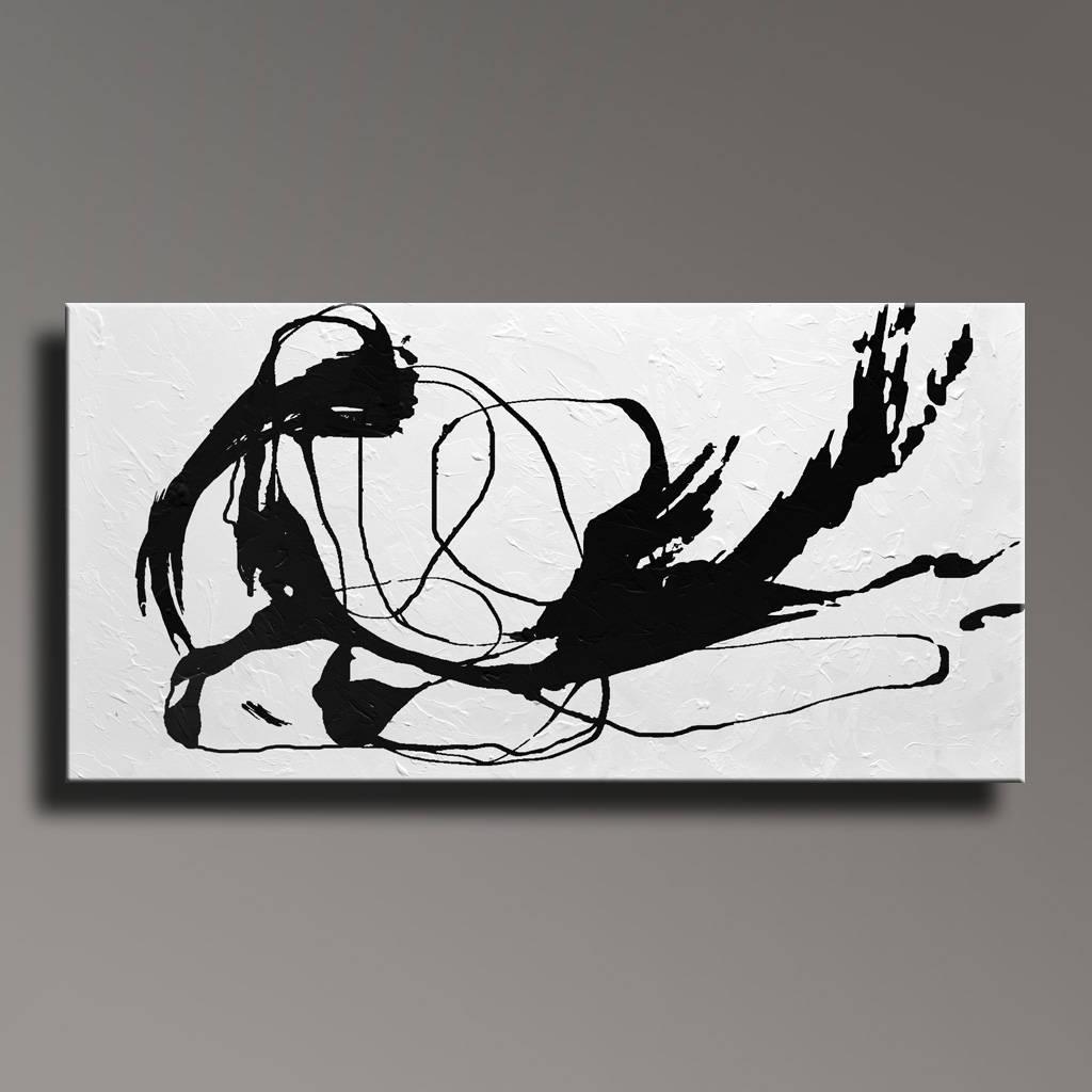 Große abstrakte Malerei schwarz weiß Gemälde Leinwand Kunst