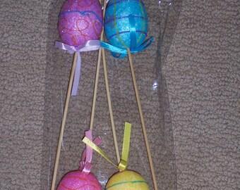 Glittered Easter egg  floral pick,large,4/pkg/tter,11 inch Easter pick,spring arrangements,crafts,florals,centerpieces