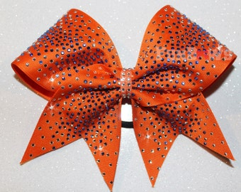 Gorgeous Allstar Cheer Bow by FunBows made with blue and silver rhinestones!