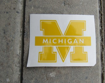 Michigan Decal/University of Michigan Decal/Michigan Car Decal/University of Michigan Cup Decal/University of Michigan Wolverines Decal