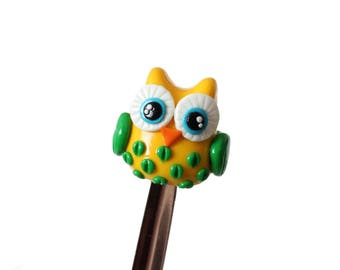 Owl spoon from polymer clay.