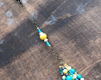 Purse Charm - Turquoise & Gold Beads