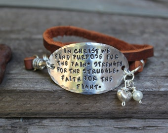 In Christ we find purpose triple wrap leather bracelet.