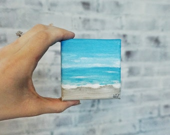 Original Seascape Clear Sky Beach Acrylic Painting/Desk Decor/Office Decor 3x3 Canvas/Blue/Tan/White