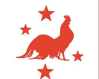 Primitive Rooster Vinyl Decal Sticker