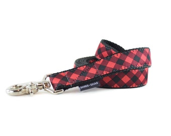 Buffalo Plaid Dog Leash - Red and Black Gingham Checkered Lead