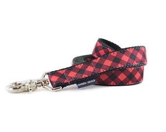 Buffalo Plaid Dog Leash - Red and Black Gingham Checkered Lead