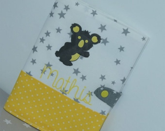 Health booklet protection cover yellow, white and gray with little koala, personalized with name!