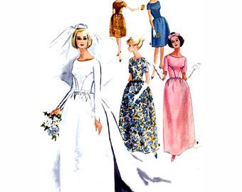 60s Wedding dress bridesmaid dress or evening dress vintage sewing pattern McCalls 7572 Bust 34