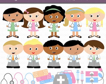 Doctor Kids Digital Art Set Clipart Commercial Use Clip Art INSTANT Download Doctor Clipart Medical Clipart