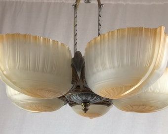 5 Light 1920's Slip Shade Chandelier with original two tone finish