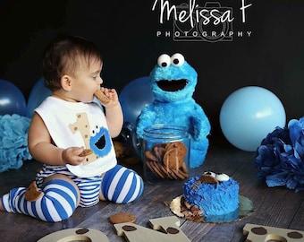 Cookie Monster Bib- First Birthday Cookie Bib- Smash Cake Bib- Cookie Birthday Bib- Toddler Bib- Monogram Birthday Bib