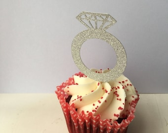 Diamond ring/ engagement ring cupcake toppers x 12