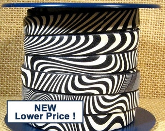 25% Off 10mm European Printed Leather - Black & White Waves - 10mm Flat Leather - 10F-P7 - Choose Your Length