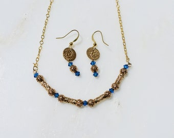 Gold Coin and Swarovski Bead earrings and necklace