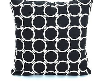 Black Links Throw Pillow Cushion Cover ALL SIZES Accent Couch Sofa Pillows Black White Links Bedding Decor Shams Cottage Dorm Pillow
