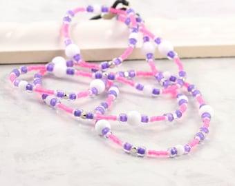 Purple Eyeglass Lanyard Pink Eyeglass Holder White Eyeglass Chain Silver Eyeglass Lanyard Office Fashion Purple Sunglass Necklace Boss Gift