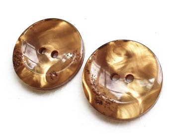 eco friendly high luster irregularly dished and rough texture golden brown buttons--matching lot of 2
