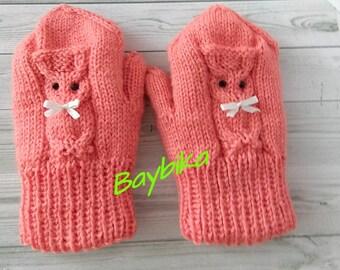 Children's mittens. Mitten knitted. The owls. Warm up the hands of children. Winter mitten. Handmade mitten.