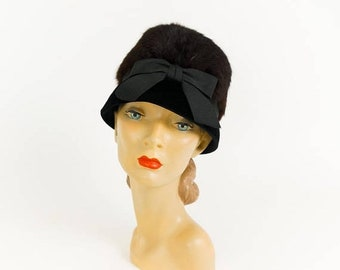 Shop SALE Vintage 1960s Womens Hat, Bucket Hat Brown Rabbit Fur Black Velvet Huge Ribbon Bow