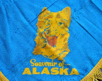 Vintage Souvenir of Alaska Blue Satin Souvenir Scarf Tablecloth with Gold Fringe and a Gold Alaskan Husky