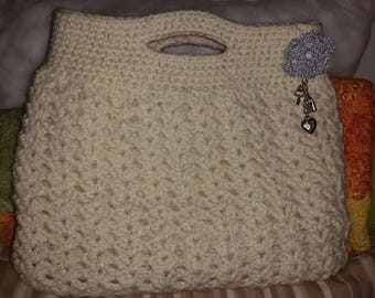 crochet bag hand-made in wool and lurex unique creation