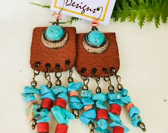 Drop leather and bead earrings