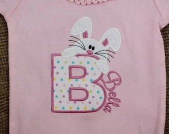 Peeping bunny Easter applique shirt