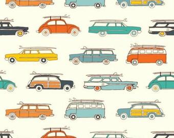 Birch Fabrics - Summer '62 Collection - Surf Rally in Cream Organic