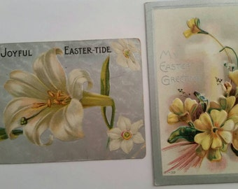 2 Floral Easter Postcards Vintage Ephemera Collectible