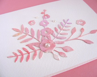 Watercoloured Floral on Creamy Ivory Card / Peach, Pink / Pearl Accents / Can Be Horizontal or Vertical / Ready to Ship