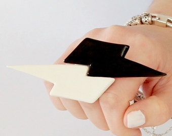 Lightning Bolt Ring Ceramic Ring, - big ring, bold ring, statement ring, handmade ring, statement jewelry - Studioleanne 4.6 inch