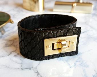 Black Leather Bracelet for Women, Leather Cuff Bracelet, Handmade Leather Jewelry
