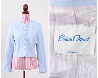1950s VINTAGE Blazer / 50s Blazer / Blue / linen  / Pastel / CUTE
