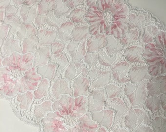 "8.5""/21.5cm Light Pink & White Brushed Floral Stretch Galloon Lace"